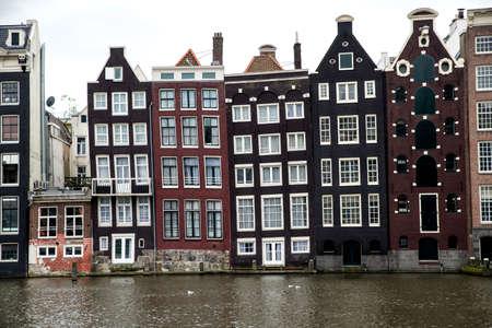 slanting: Old slanting canal buildings in Amsterdam