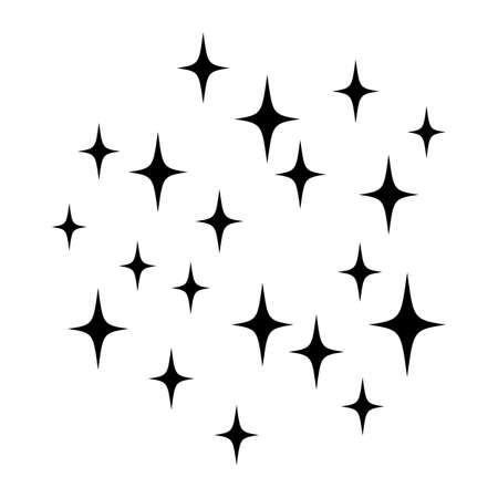 Sparkles isolated on white. Black vector stars. Shine background. . Vector illustration