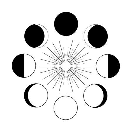 Lunar phases vector illustration. Astrology moon and sun isolated black on white. . Vector illustration