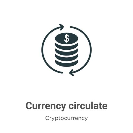 Currency circulate vector icon on white background. Flat vector currency circulate icon symbol sign from modern cryptocurrency collection for mobile concept and web apps design.