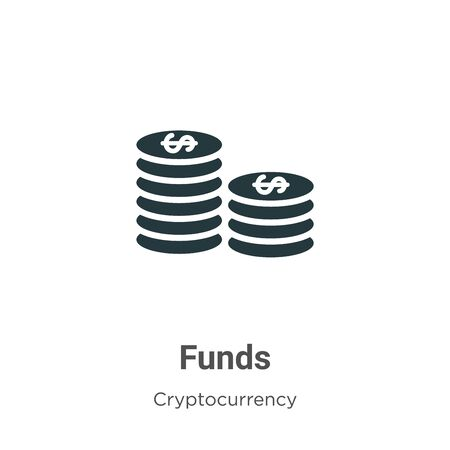Funds vector icon on white background. Flat vector funds icon symbol sign from modern cryptocurrency collection for mobile concept and web apps design.