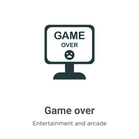 Game over vector icon on white background. Flat vector game over icon symbol sign from modern entertainment and arcade collection for mobile concept and web apps design. Ilustración de vector