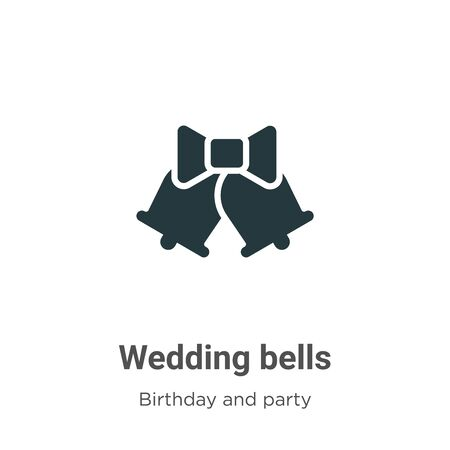 Wedding bells vector icon on white background. Flat vector wedding bells icon symbol sign from modern birthday and party collection for mobile concept and web apps design.