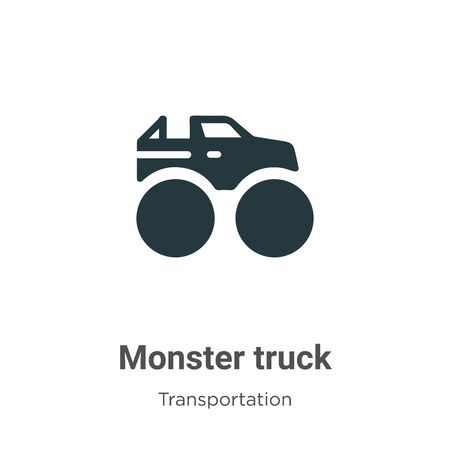 Monster truck vector icon on white background. Flat vector monster truck icon symbol sign from modern transportation collection for mobile concept and web apps design. Illustration