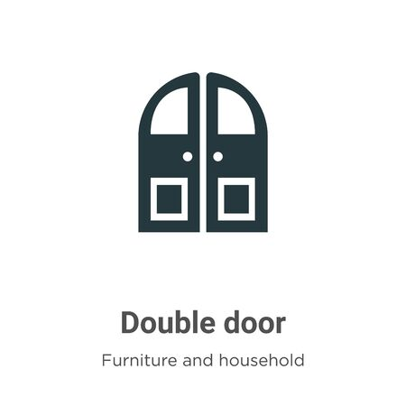 Double door vector icon on white background. Flat vector double door icon symbol sign from modern furniture and household collection for mobile concept and web apps design.