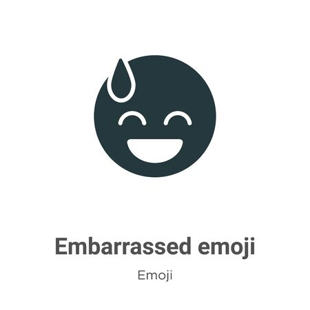 Embarrassed emoji vector icon on white background. Flat vector embarrassed emoji icon symbol sign from modern emoji collection for mobile concept and web apps design.