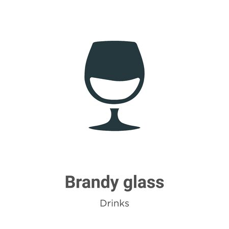 Brandy glass vector icon on white background. Flat vector brandy glass icon symbol sign from modern drinks collection for mobile concept and web apps design.