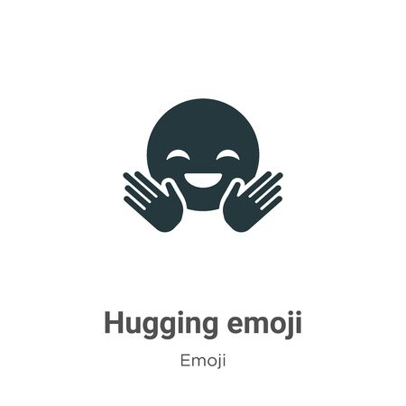 Hugging emoji vector icon on white background. Flat vector hugging emoji icon symbol sign from modern emoji collection for mobile concept and web apps design. Illustration