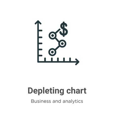 Depleting chart vector icon on white background. Flat vector depleting chart icon symbol sign from modern business and analytics collection for mobile concept and web apps design.