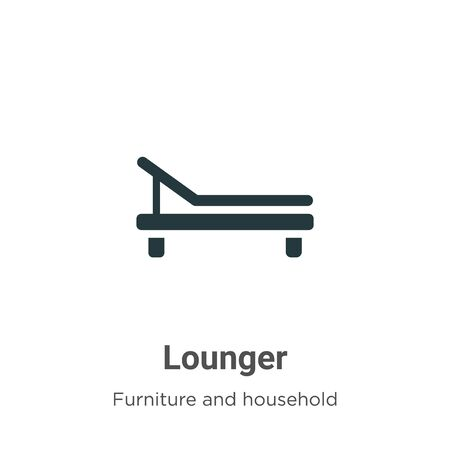 Lounger vector icon on white background. Flat vector lounger icon symbol sign from modern furniture and household collection for mobile concept and web apps design.