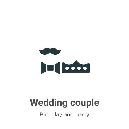 Wedding couple vector icon on white background. Flat vector wedding couple icon symbol sign from modern birthday and party collection for mobile concept and web apps design.
