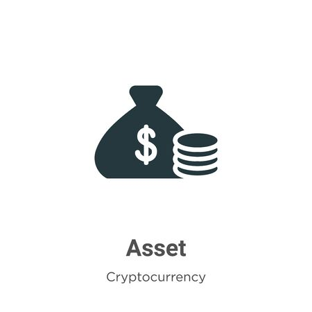Asset vector icon on white background. Flat vector asset icon symbol sign from modern cryptocurrency collection for mobile concept and web apps design.