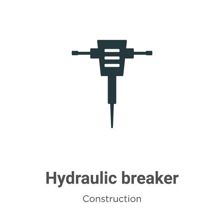 Hydraulic breaker vector icon on white background. Flat vector hydraulic breaker icon symbol sign from modern construction collection for mobile concept and web apps design. Vecteurs