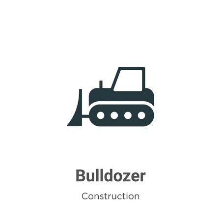 Bulldozer vector icon on white background. Flat vector bulldozer icon symbol sign from modern construction collection for mobile concept and web apps design.