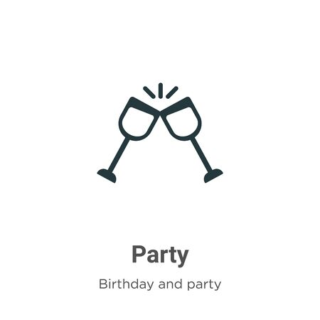 Party vector icon on white background. Flat vector party icon symbol sign from modern birthday and party collection for mobile concept and web apps design.