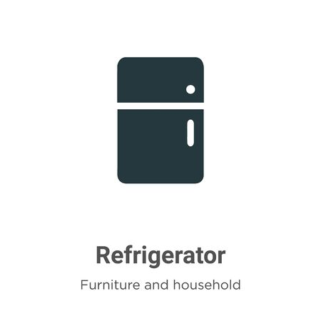 Refrigerator vector icon on white background. Flat vector refrigerator icon symbol sign from modern furniture and household collection for mobile concept and web apps design.