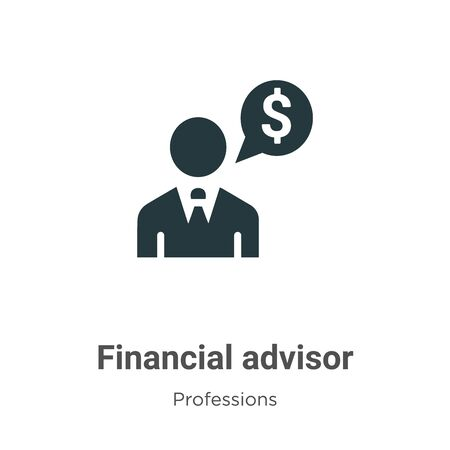 Financial advisor vector icon on white background. Flat vector financial advisor icon symbol sign from modern professions collection for mobile concept and web apps design.