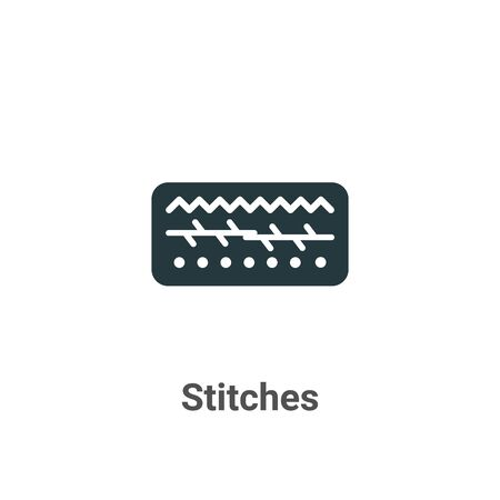 Stitches vector icon on white background. Flat vector stitches icon symbol sign from modern sew collection for mobile concept and web apps design.
