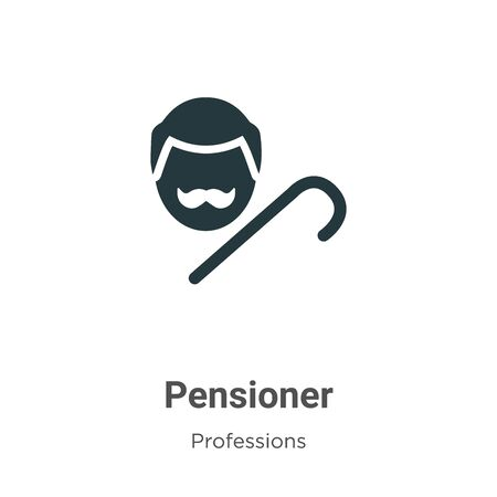 Pensioner vector icon on white background. Flat vector pensioner icon symbol sign from modern professions collection for mobile concept and web apps design. 向量圖像