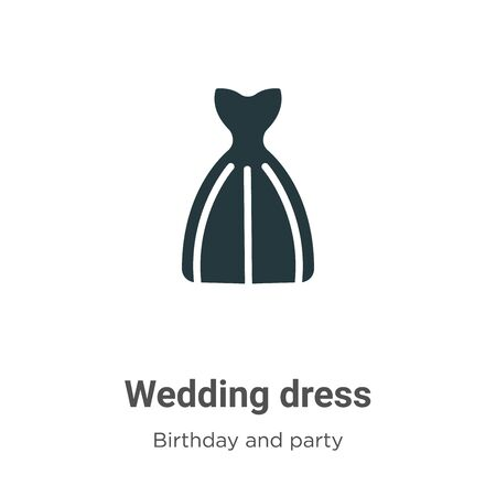Wedding dress vector icon on white background. Flat vector wedding dress icon symbol sign from modern birthday and party collection for mobile concept and web apps design. Imagens - 142511448