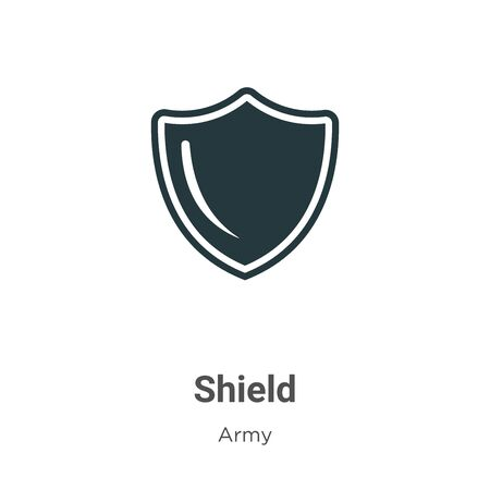 Shield vector icon on white background. Flat vector shield icon symbol sign from modern army collection for mobile concept and web apps design. Vecteurs