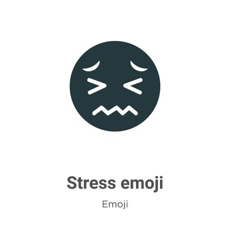 Stress emoji vector icon on white background. Flat vector stress emoji icon symbol sign from modern emoji collection for mobile concept and web apps design.