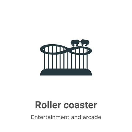 Roller coaster vector icon on white background. Flat vector roller coaster icon symbol sign from modern entertainment and arcade collection for mobile concept and web apps design. Stock Vector - 142511538