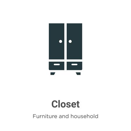 Closet vector icon on white background. Flat vector closet icon symbol sign from modern furniture and household collection for mobile concept and web apps design.