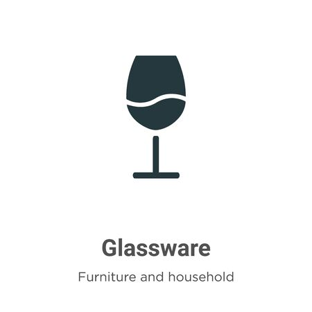 Glassware vector icon on white background. Flat vector glassware icon symbol sign from modern furniture and household collection for mobile concept and web apps design.