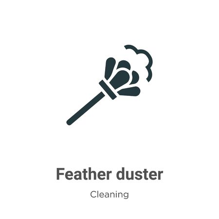 Feather duster vector icon on white background. Flat vector feather duster icon symbol sign from modern cleaning collection for mobile concept and web apps design. Illustration