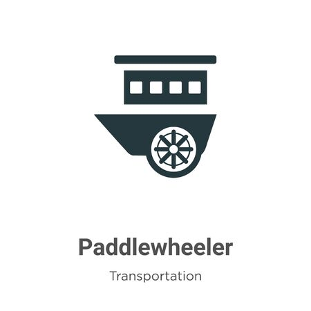 Paddlewheeler vector icon on white background. Flat vector paddlewheeler icon symbol sign from modern transportation collection for mobile concept and web apps design.