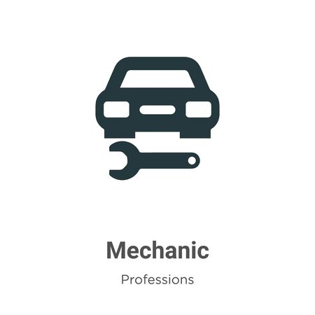 Mechanic vector icon on white background. Flat vector mechanic icon symbol sign from modern professions collection for mobile concept and web apps design.