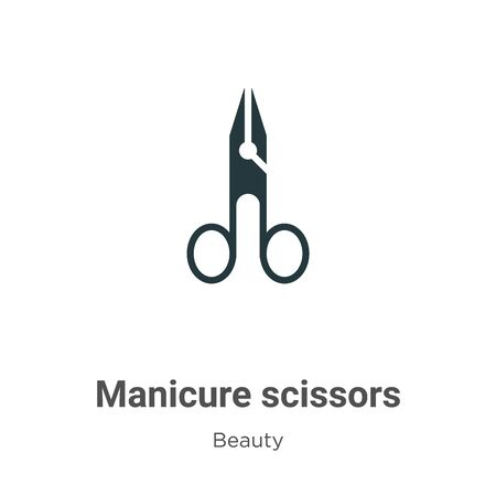 Manicure scissors vector icon on white background. Flat vector manicure scissors icon symbol sign from modern beauty collection for mobile concept and web apps design.