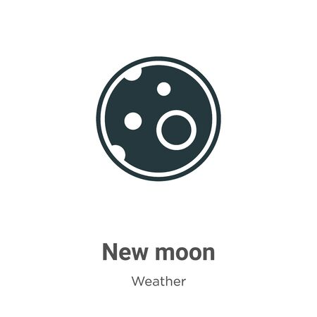 New moon vector icon on white background. Flat vector new moon icon symbol sign from modern weather collection for mobile concept and web apps design. 向量圖像