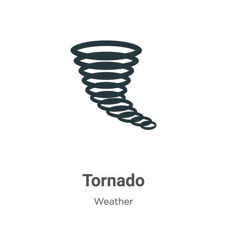 Icône de vecteur de tornade sur fond blanc. Signe plat d'icône de tornade vectorielle de la collection météo moderne pour la conception de concepts mobiles et d'applications Web.