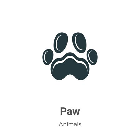 Paw vector icon on white background. Flat vector paw icon symbol sign from modern animals collection for mobile concept and web apps design.