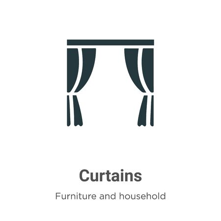 Curtains vector icon on white background. Flat vector curtains icon symbol sign from modern furniture and household collection for mobile concept and web apps design.