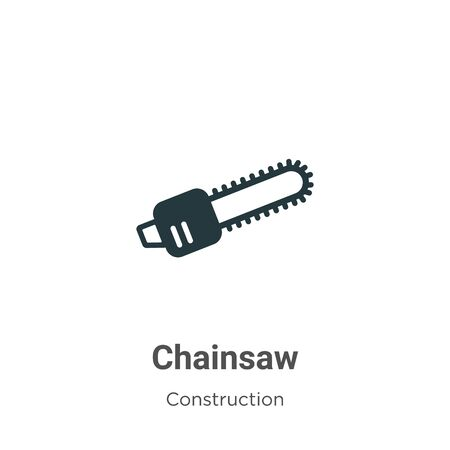 Chainsaw vector icon on white background. Flat vector chainsaw icon symbol sign from modern construction collection for mobile concept and web apps design.
