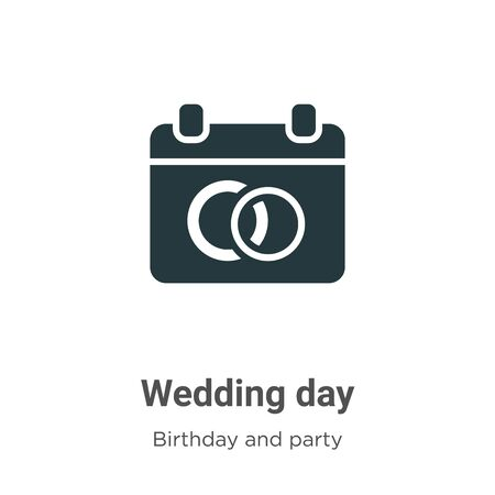 Wedding day vector icon on white background. Flat vector wedding day icon symbol sign from modern birthday and party collection for mobile concept and web apps design.