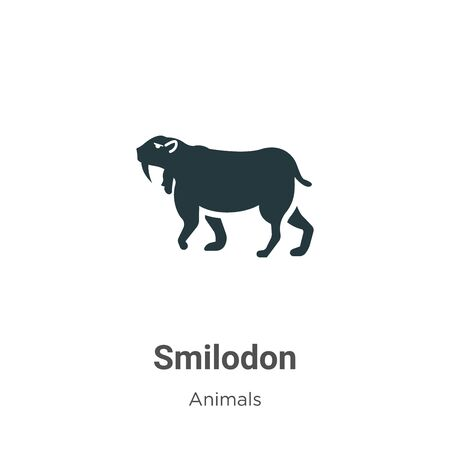 Smilodon vector icon on white background. Flat vector smilodon icon symbol sign from modern animals collection for mobile concept and web apps design.