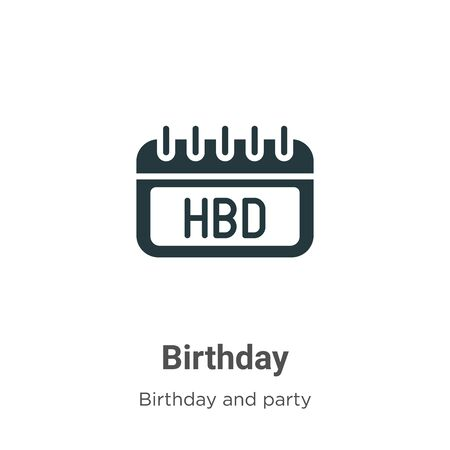 Birthday vector icon on white background. Flat vector birthday icon symbol sign from modern birthday and party collection for mobile concept and web apps design.