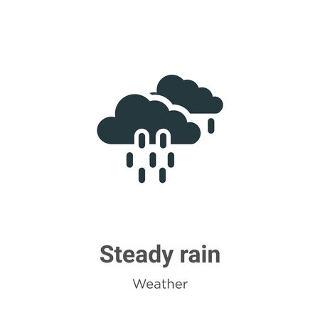 Steady rain vector icon on white background. Flat vector steady rain icon symbol sign from modern weather collection for mobile concept and web apps design.  イラスト・ベクター素材