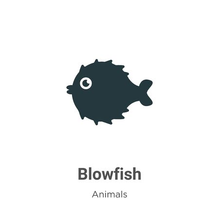 Blowfish vector icon on white background. Flat vector blowfish icon symbol sign from modern animals collection for mobile concept and web apps design.