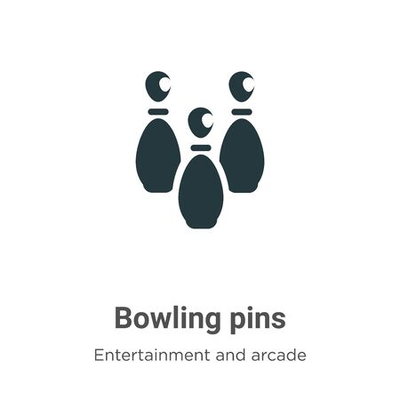 Bowling pins vector icon on white background. Flat vector bowling pins icon symbol sign from modern entertainment and arcade collection for mobile concept and web apps design.