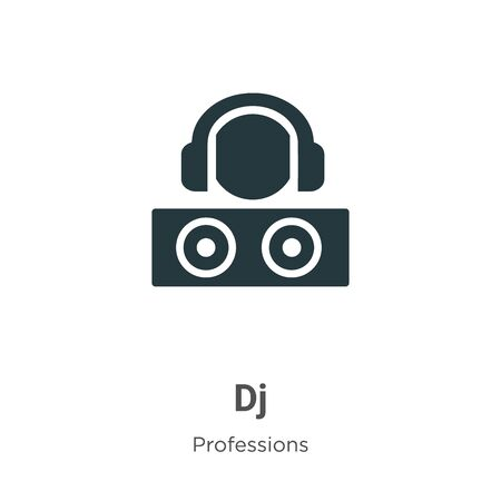 Dj vector icon on white background. Flat vector dj icon symbol sign from modern professions collection for mobile concept and web apps design.