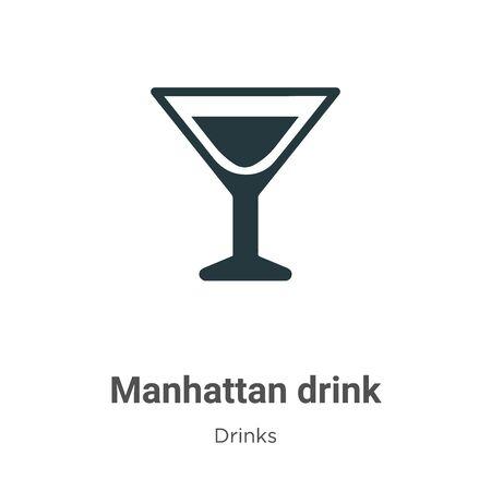 Manhattan drink vector icon on white background. Flat vector manhattan drink icon symbol sign from modern drinks collection for mobile concept and web apps design.  イラスト・ベクター素材