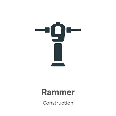 Rammer vector icon on white background. Flat vector rammer icon symbol sign from modern construction collection for mobile concept and web apps design. Vettoriali
