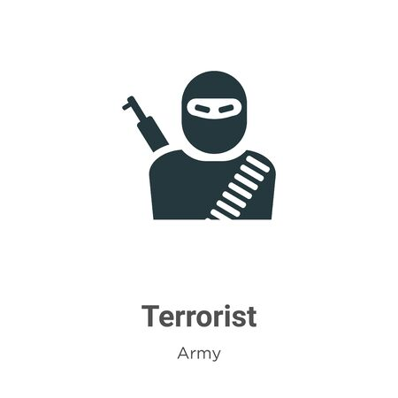 Terrorist vector icon on white background. Flat vector terrorist icon symbol sign from modern army collection for mobile concept and web apps design. Illustration
