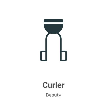 Curler vector icon on white background. Flat vector curler icon symbol sign from modern beauty collection for mobile concept and web apps design.