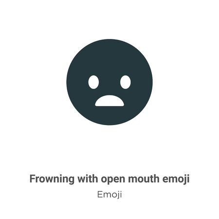 Frowning with open mouth emoji vector icon on white background. Flat vector frowning with open mouth emoji icon symbol sign from modern emoji collection for mobile concept and web apps design.